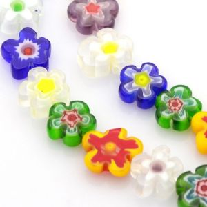 Millefiori Glass Beads - Flower 10mm - 15 pieces